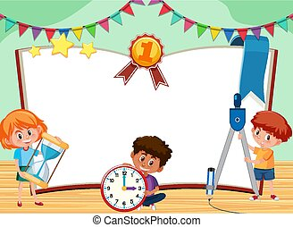 szablon, dzieciaki, interpretacja, trzy, klasa, chorągiew