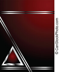 szablon, handlowy, głęboki, srebro, czerwone tło, albo, karta