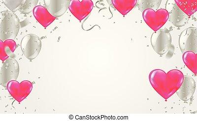 szablon, heart., kształt, valentine, ilustracja, powietrze, realistyczny, wektor, confetti, balony, dzień, wężowaty
