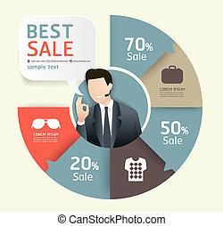 szablon, liczbowany, używany, sprzedaż, kwestia, promocja, infographics, /, wektor, etykieta, website, cutout, chorągwie, poziomy, graficzny, nowoczesny, papier, styl, czuć się, układ, albo, może