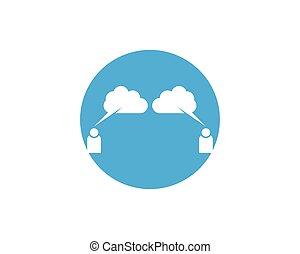szablon, ludzie, projektować, pogawędka, logo, chmura, ikona