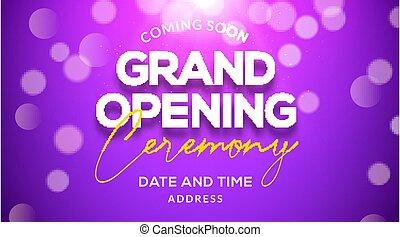 szablon, partia, ceremonia, invitation., otwarcie, wielki, afisz, pojęcie, wypadek, ozdoba