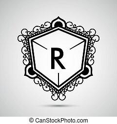 szablon, projektować, dla, monogram, etykieta, logo, w, nasunięty, style., wektor, illustration.
