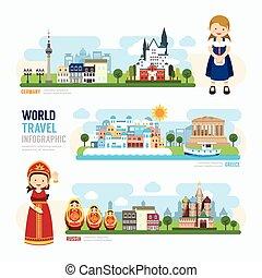 szablon, punkt orientacyjny, podróż, ilustracja, europa, na wolnym powietrzu, infographic., wektor, projektować, pojęcie