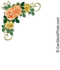 szablon, róże, zaproszenie, ślub