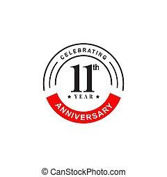 szablon, rocznica, projektować, rok, logo, wektor, 11