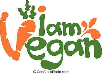 szablon, tytuł, ilustracja, wektor, vegan., pojęcie