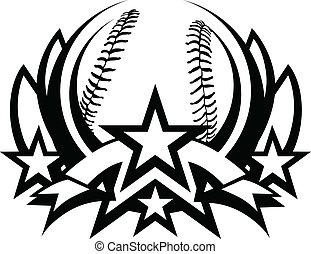 szablon, wektor, baseball, graficzny