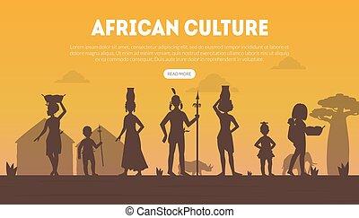 szablon, wektor, ludzie, ilustracja, afrykanin, tradycyjny, lądowanie, plemienny, strona, sylwetka, odzież, krajowiec, kultura