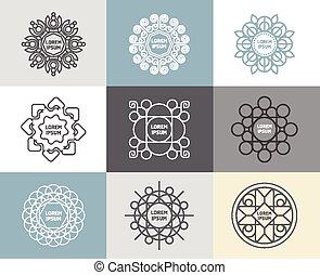 szablony, calligraphic, abstrakcyjny, emblematy, szkic, pojęcie, komplet, wektor, kwiat, symbole