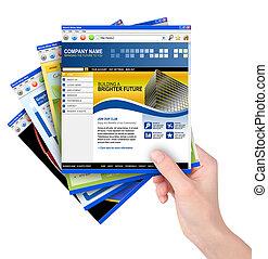 szablony, dzierżawa, internet, website, ręka