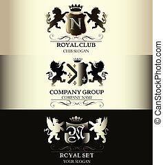 szablony, handlowy, restauracja, rocznik wina, butik, etykiety, logotype, zbiór, znak, królewskość, luksus, menu, identyczność