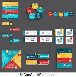 szablony, illustra, handlowy, zbiór, infographic, wektor