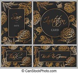 szablony, komplet, piwonia, ręka, ślub, pociągnięty, kwiaty