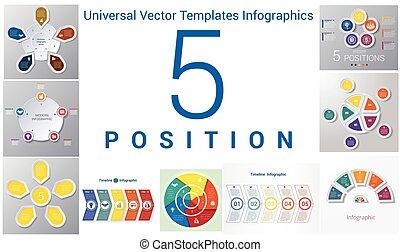 szablony, komplet, pozycje, uniwersalny, 5, infographics
