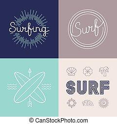 szablony, komplet, surfing, wektor, projektować, logo