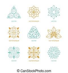 szablony, komplet, symbolika, wektor, projektować, logo