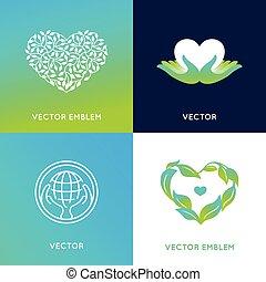szablony, komplet, wektor, projektować, logo, symbole