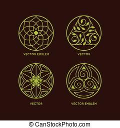 szablony, logo, komplet, wektor, projektować