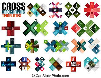 szablony, ogromny, komplet, krzyż, infographic, #2
