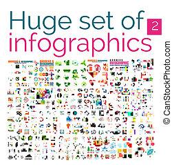 szablony, ogromny, komplet, mega, infographic