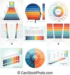 szablony, options., element, diagram, dziewięć, infographics, osiem