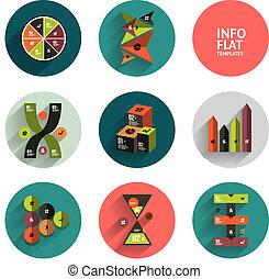 szablony, płaski, geometryczny, komplet, ikona