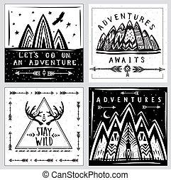 szablony, podróż, zbiór, temat, przygoda, karta