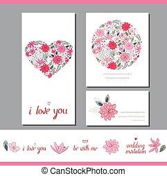 szablony, serce, różny, robiony, wiosna, stylizowany, kwiatowy, kwiaty
