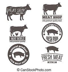 szablony, sklep, komplet, emblemat, mięso, rocznik wina, rzeź, etykiety, logo