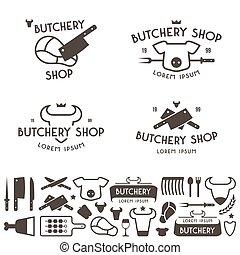 szablony, sklep, komplet, rzeź, etykiety, logo