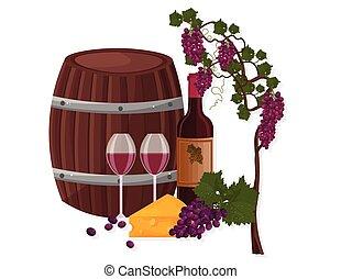 szablony, winorośl, wektor, winogrona, baryłka, wino