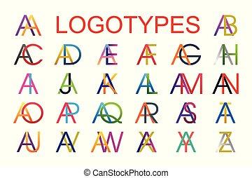 szablony, wszystko, robiony, beletrystyka, kombinacja, alfabet, logotype, różny, projektować, colors., litera, angielski, logo, letters.