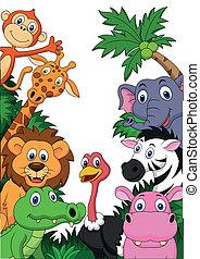 szafari, állat, háttér, karikatúra