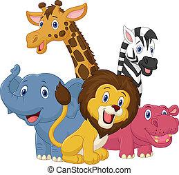 szafari, karikatúra, állat, boldog