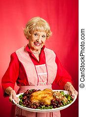szakács, ünnep, retro, háziasszony, étkezés