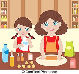 szakács, guba, lány, anya