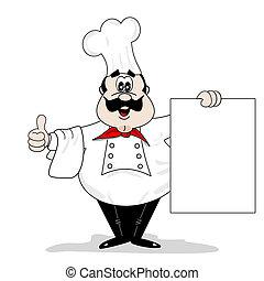 szakács, karikatúra, séf