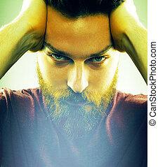 szakáll, mód, arc, csípőre szabott, ember, jelentékeny