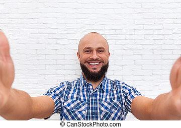 szakállas, ügy, fénykép, selfie, kényelmes, bevétel, ember