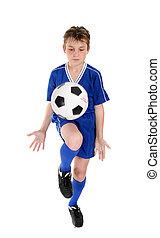 szakértelem, futball, fiú