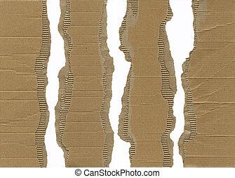 szakadt, hullámosít kartonpapír
