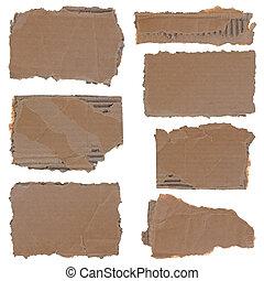 szakadt, kartonpapír, darabok, állhatatos