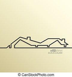 szalag, épület, hely, forma, text., árnyék