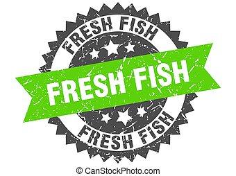 szalag, aláír, friss, stamp., grunge, kerek, fish