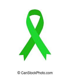 szalag, elmebeli, zöld, ikon, egészség