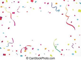 szalag, háttér, konfetti, színes, ünneplés