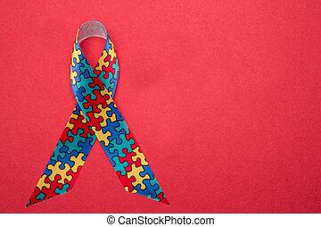 szalag, helyett, autism, és, aspergers, tudatosság, noha,...