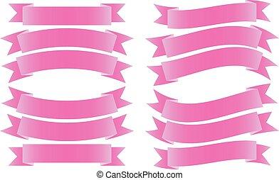 szalag lobogó, rózsaszínű