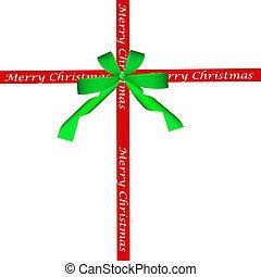 szalag, zöld, karácsony, piros vonó